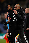 Josep Guardiola manager of Manchester City prepares substitute Riyad Marhez of Manchester City during the Premier League match at Turf Moor, Burnley. Picture date: 3rd December 2019. Picture credit should read: Simon Bellis/Sportimage