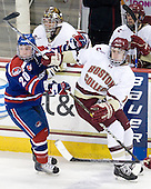 Michael Scheu (Lowell - 20), Kevin Hayes (BC - 12) - The Boston College Eagles defeated the visiting University of Massachusetts-Lowell River Hawks 5-3 (EN) on Saturday, January 22, 2011, at Conte Forum in Chestnut Hill, Massachusetts.