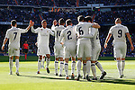 Real Madrid's Cristiano Ronaldo, Raphael Varane, Carlos Henrique Casemiro, Daniel Carvajal, Nacho Fernandez, Isco Alarcon and Karim Benzema celebrate goal during La Liga match. January 7,2016. (ALTERPHOTOS/Acero)