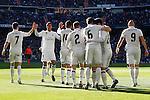 Real Madrid's Cristiano Ronaldo, Raphael Varane, Carlos Henrique Casemiro, Daniel Carvajal, Nacho Fernandez, Isco Alarcon and Karim Benzema celebrate goal during La Liga match. January 7,2016. (ALTERPHOTOS/Acero)
