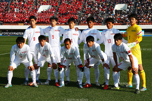 Higashi Fukuoka team group line up , JANUARY 5, 2016 - Football / Soccer : 94th All Japan High School Soccer Tournament quarterfinal match between Komazawa University high school 0-1 Higashi Fukuoka at Komazawa Olympic Park Stadium, Tokyo, Japan. (Photo by Shingo Ito/AFLO SPORT)