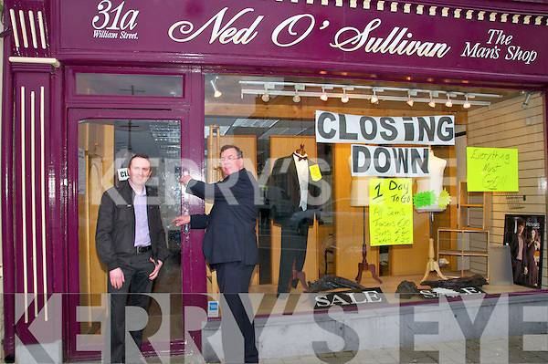 Closing Down ; Senator Ned O'Sullivan, Listowel turning the key on the door of his family shop after 150 years in business on Thursday evening last pictured with shop manager Mark Loughnane.