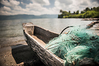 Fishing nets in a fishing boat on Lake Toba (Danau Toba), North Sumatra, Indonesia