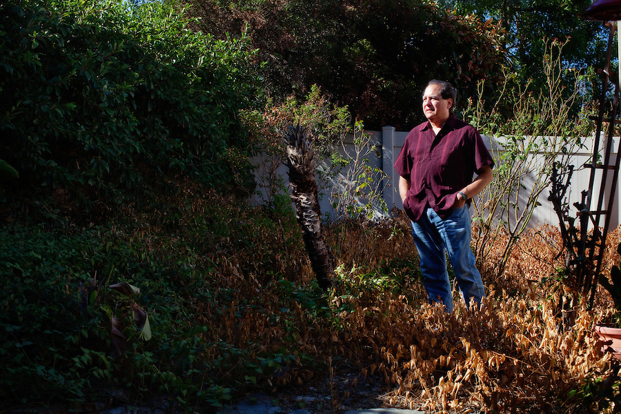 Rancho Cucamonga, California, September 1, 2012 - A portrait of Michael Quinn in his garden which he says was decimated by the summer heatwave. In September 1993, Quinn was, along with five other writers and intellectuals, excommunicated from the Mormon Church. Quinn said of his actions, ?We all did what we felt had to be done.? A Yale-trained historian who taught for 12 years at BYU, Quinn had published controversial books and articles about polygamy, Joseph Smith's interest in magic, and the role of women in the church. Though it was not publicly known at the time, Quinn, who was divorced in 1985 (he had four children, one of whom committed suicide at 21), is gay. He had told his wife and some close friends, but did not come out publicly until 1996, when he published a book about same-sex relations among the early Mormons.Despite his accomplishments as a historian, he's been unable to land a tenured professorship since he resigned from BYU prior to his excommunication. This is partly because the handful of big universities with chairs in Mormon studies don't want to offend the mostly Mormon donors who endow those positions. And so he has occasionally struggled to support himself. About 10 years ago he moved in with his mother, sleeping on a futon in her condo. She passed away in 2007, and left the condo to him. Though he hates Rancho Cucamonga, that's where he still lives. He plans to relocate to New Orleans once he is able to sell the condo.