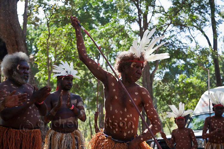 Indigenous dancer troupe from Aurukun at the Laura Aboriginal Dance Festival.  Laura, Queensland, Australia