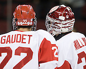 Ross Gaudet (BU - 22), Kieran Millan (BU - 31) - The Boston University Terriers defeated the visiting Providence College Friars 2-1 on Saturday, October 23, 2010, at Agganis Arena in Boston, Massachusetts.