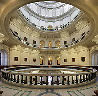 Rotunda, with whispering gallery and portraits of every president of the Republic of Texas and governor of the State of Texas, in the Texas State Capitol, designed in 1881 by Elijah E Myers and built 1882-88, Austin, Texas, USA. The building is in Italian Neo-Renaissance style, with both Corinthian and Doric details and a large central dome. The State Capitol houses the Senate, Governor's Office, House of Representatives and Supreme Court. It is listed on the National Register of Historic Places and is a National Historic Landmark. Picture by Manuel Cohen