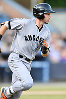 Augusta GreenJackets designated hitter Ryan Kirby (9) runs to first base during a game against the Asheville Tourists at McCormick Field on June 15, 2018 in Asheville, North Carolina. The Tourists defeated the GreenJackets 6-5. (Tony Farlow/Four Seam Images)