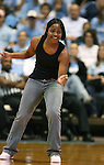 """13 October 2006: North Carolina's Ivory Latta dances as the players entertain the crowd. The University of North Carolina at Chapel Hill Tarheels held their first Men's and Women's basketball practices of the season as part of """"Late Night with Roy Williams"""" at the Dean E. Smith Center in Chapel Hill, North Carolina."""