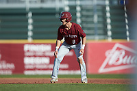 Jake Artz (8) of the Saint Joseph's Hawks takes his lead off of second base against the Western Carolina Catamounts at TicketReturn.com Field at Pelicans Ballpark on February 23, 2020 in Myrtle Beach, South Carolina. The Hawks defeated the Catamounts 9-2. (Brian Westerholt/Four Seam Images)