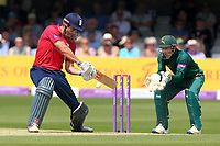 Alastair Cook hits four runs for Essex as Chris Read looks on from behind the stumps during Essex Eagles vs Notts Outlaws, Royal London One-Day Cup Semi-Final Cricket at The Cloudfm County Ground on 16th June 2017