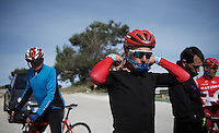Joaquim Rodriguez (ESP/Katusha) &amp; teammates having a small break (mid-training) up the Coll de Rates (Alicante, Spain) and preparing to go down again.<br /> <br /> January 2016 Training Camps