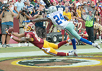 Washington Redskins wide receiver Josh Doctson (18) has the ball in his hands for what could have been a touchdown except he dropped the ball against the Dallas Cowboys at FedEx Field in Landover, Maryland on Sunday, September 18, 2016.  Dallas Cowboys cornerback Morris Claiborne (24) was beaten on the play.The Cowboys won the game 27 - 23.<br /> Credit: Ron Sachs / CNP /MediaPunch