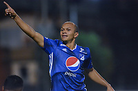 ENVIGADO -COLOMBIA, 27-01-2019: Juan David Perez de Millonarios celebra después de anotar el primer gol de su equipo durante partido por la fecha 1 de la Liga Águila I 2019 entre Envigado FC y Millonarios jugado en el Polideportivo Sur de la ciudad de Envigado. / Juan David Perez of Millonarios celebrates after scoring the first goal of his team during match for the date 1 of the Aguila League I 2019 between Envigado FC and Millonarios played at Polideportivo Sur in Envigado.  Photo: VizzorImage/ León Monsalve / Cont
