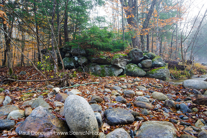 Remnants of an old stone bridge that crossed Eastman Brook along the Thornton Gore Road in Thornton, New Hampshire. This was an old hill farm community that was abandoned during the 19th century.