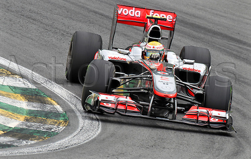 06.11.2010 British driver Lewis Hamilton of McLaren Mercedes steers his car along the race track during the second training session in Sao Paulo, Brazil, 05 November 2010. The Brazilian Grand Prix 2010 is held at the race track Autodromo Jose Carlos Pace in Interlagos, Sao Paulo
