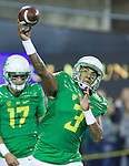 Oct 07, 2015; Eugene, OR, USA; Oregon Ducks quarterback Vernon Adams Jr. (3) throws the ball during warm-ups before playing California Golden Bears at Autzen Stadium. <br /> Photo by Jaime Valdez