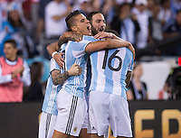 Foxborough, MA - Saturday June 18, 2016: Erik Lamela, Gonzalo Higuain, Marcos Rojo during a Copa America Centenario quarterfinal match between Argentina (ARG) and Venezuela (VEN)  at Gillette Stadium.