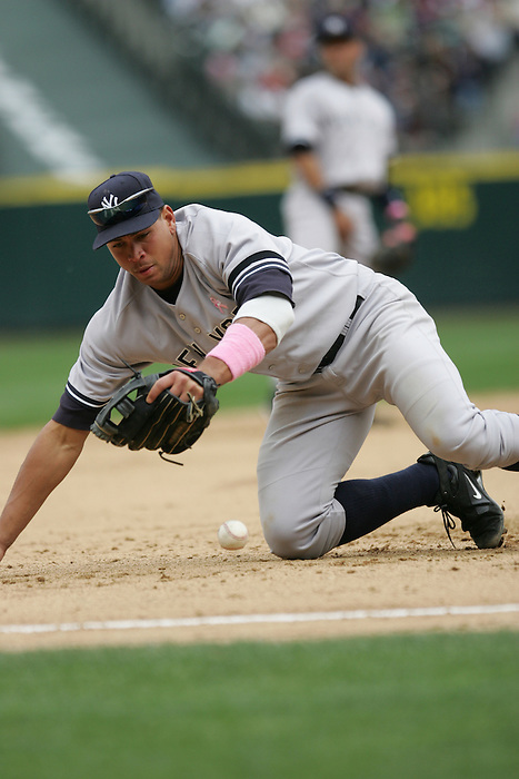 13 May 2007: Alex Rodriguez scrambles for the ball during the Yankees 2-1 loss to the Seattle Mariners  at Safeco Park in Seattle, Washington.
