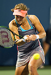 Varvara Lepchenko (USA) during her Round of 16 match against Caroline Wozniacki (DEN) at the Bank of the West Classic in Stanford, CA on August 6, 2015. Lepchenko upset number one seed Wozniacki by 64 62