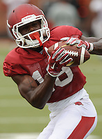 NWA Democrat-Gazette/ANDY SHUPE<br /> Arkansas receiver La'Michael Pettway makes a catch Tuesday, Aug. 18, 2015, during practice at the university's practice field in Fayetteville.