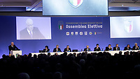 Carlo Tavecchio, il precedente Presidente della FIGC, parla durante l'Assemblea per l'elezione del nuovo Presidente della Federazione Italiana Giuoco Calcio (FIGC) a Roma, 29 gennaio 2018.<br /> Former Italian Football Federation President (FIGC) Carlo Tavecchio speaks during the election for the Italian Football Federation (FIGC) presidency in Rome, Italy, January 29, 2018. <br /> UPDATE IMAGES PRESS/Isabella Bonotto