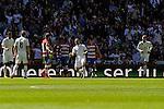 Real Madrid´s Karim Benzema and Cristiano Ronaldo celebrates a goal during 2014-15 La Liga match between Real Madrid and Granada at Santiago Bernabeu stadium in Madrid, Spain. April 05, 2015. (ALTERPHOTOS/Luis Fernandez)