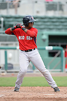 Boston Red Sox first baseman Roldani Baldwin (49) during an Instructional League game against the Minnesota Twins on September 26, 2014 at jetBlue Park at Fenway South in Fort Myers, Florida.  (Mike Janes/Four Seam Images)