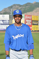 Melvin Santana (9) of the Ogden Raptors poses for a photo during media day on June 14, 2014 at Lindquist Field in Ogden, Utah. (Stephen Smith/Four Seam Images)