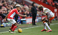 Blackpool's Armand Gnanduillet chases down Charlton Athletic's Lyle Taylor<br /> <br /> Photographer David Shipman/CameraSport<br /> <br /> The EFL Sky Bet League One - Charlton Athletic v Blackpool - Saturday 16th February 2019 - The Valley - London<br /> <br /> World Copyright © 2019 CameraSport. All rights reserved. 43 Linden Ave. Countesthorpe. Leicester. England. LE8 5PG - Tel: +44 (0) 116 277 4147 - admin@camerasport.com - www.camerasport.com