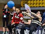 MONTREAL, QC - APRIL 29:  Cindy Ouellet looks on as a participant takes part in a ball throwing exercise during the 2017 Montreal Paralympian Search at Complexe sportif Claude-Robillard. Photo: Minas Panagiotakis/Canadian Paralympic Committee