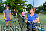 Carol Cronin with l-r: James van Thienen, Aidan Cotter Frances Rowland  back on court with Killarney Tennis club on Monday evening