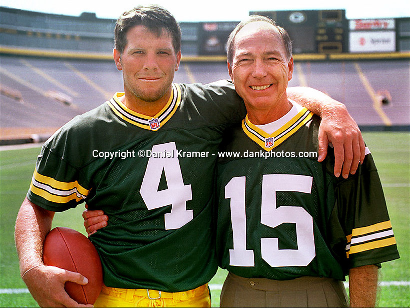 Brett Favre and Bart Starr in Lambeau Field in 1998.