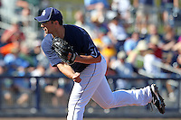 Tampa Bay Rays pitcher Matt Tora #76 delivers a pitch during a spring training game against the Baltimore Orioles at the Charlotte County Sports Park on March 5, 2012 in Port Charlotte, Florida.  (Mike Janes/Four Seam Images)