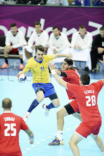 10.08.2012. London, England.  Doder Dalibor Sweden  2012 London Olympic games mens handball semi-final. Sweden versus Hungary.   Sweden beat Hungary by a score of 27-26 to reach Olympic men's handball final for 4th time