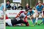 ALMERE - Hockey - Hoofdklasse competitie heren. ALMERE-HGC (0-1) . Jonas de Geus (Almere) in duel met Sam van der Ven (HGC).  COPYRIGHT KOEN SUYK