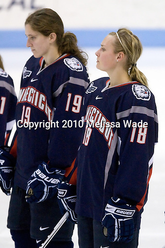 Rebecca Hewett (UConn - 18) - The University of Connecticut Huskies defeated the Northeastern University Huskies 4-1 in Hockey East quarterfinal play on Saturday, February 27, 2010, at Matthews Arena in Boston, Massachusetts.