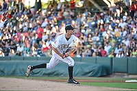 Salt Lake Bees starting pitcher Andrew Heaney (17) delivers a pitch to the plate against the Fresno Grizzlies in Pacific Coast League action at Smith's Ballpark on June 13, 2015 in Salt Lake City, Utah.  (Stephen Smith/Four Seam Images)