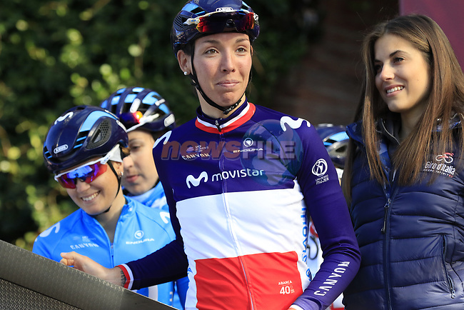 French National Champion Aude Biannic (FRA) Movistar Team at sign on before the Strade Bianche Women Elite 2019 running 133km from Siena to Siena, held over the white gravel roads of Tuscany, Italy. 9th March 2019.<br /> Picture: Eoin Clarke | Cyclefile<br /> <br /> <br /> All photos usage must carry mandatory copyright credit (© Cyclefile | Eoin Clarke)