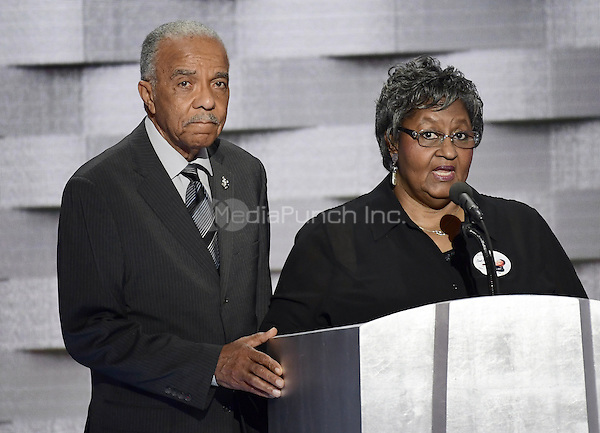 Wayne Owens and  Barbara Owens of Cleveland, Ohio, whose son Derek was killed in the line of duty, makes remarks during the fourth session of the 2016 Democratic National Convention at the Wells Fargo Center in Philadelphia, Pennsylvania on Thursday, July 28, 2016.<br /> Credit: Ron Sachs / CNP/MediaPunch<br /> (RESTRICTION: NO New York or New Jersey Newspapers or newspapers within a 75 mile radius of New York City)