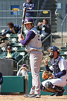 Kent Burford of James Madison University hitting in a game against UC Irvine at the Baseball at the Beach Tournament held at BB&T Coastal Field in Myrtle Beach, SC on February 28, 2010.
