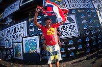 "HALEIWA, HI (Nov. 20, 2009) --  Patience and faith in his home break of Haleiwa delivered local boy Joel Centeio the biggest victory of his career today, winning the Reef Hawaiian Pro in 6- to 8-foot surf with a late barrel ride and only the mandatory two waves to his credit. Joel, 26, came from the very first round, winning all seven heats he contested. He now takes an early lead on the Vans Triple Crown of Surfing presented by Rockstar Energy Drink series ratings. His win today earned him $20,000. .Runner-up in the final was Florida's CJ Hobgood, third was Australian Jay ""Bottle"" Thompson, 27, and fourth was Tahiti's Alain Riou. Hobgood and Thompson were always within striking distance - requiring less than a 7.0 point ride to turn the tables - but Haleiwa chose to favor her own. .While the win catapulted Centeio from 131st on the ASP World Qualifying Series (WQS) ratings to 51st, he still has no chance of qualifying for the 2010 ASP Dream Tour. .Even though it didn't end in a win, Thompson (Burleigh Heads, QLD) was satisfied with third, qualifying for the 2010 ASP Dream Tour with this result...The northern hemisphere winter months on the North Shore signal a concentration of surfing activity with some of the best surfers in the world taking advantage of swells originating in the stormy Northern Pacific. Notable North Shore spots include Waimea Bay, Off The Wall, Backdoor, Rocky Point, Log Cabins, Rockpiles and Sunset Beach... Ehukai Beach is more  commonly known as Pipeline and is the most notable surfing spot on the North Shore. It is considered a prime spot for competitions due to its close proximity to the beach, giving spectators, judges, and photographers a great view...The North Shore is considered to be one the surfing world's must see locations and every December hosts three competitions, which make up the Triple Crown of Surfing. The three men's competitions are the Reef Hawaiian Pro at Haleiwa, the O'Neill World Cup of Surfing at Sunset Beach, and the B"