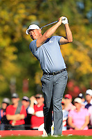 Lee Westwood (ENG)(Team Europe) on the 17th tee during Sunday Singles matches at the Ryder Cup, Hazeltine National Golf Club, Chaska, Minnesota, USA.  02/10/2016<br /> Picture: Golffile   Fran Caffrey<br /> <br /> <br /> All photo usage must carry mandatory copyright credit (&copy; Golffile   Fran Caffrey)