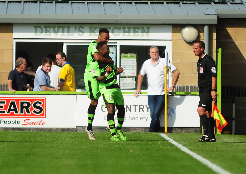 Forest Green Rovers' Aaron O'Connor celebrates neting Forest Green Rovers' second goal<br /> <br /> Photographer Andrew Vaughan/CameraSport<br /> <br /> Football - Vanarama National League - Forest Green Rovers v Lincoln - Saturday 22nd August 2015 - The New Lawn - Nailsworth<br /> <br /> &copy; CameraSport - 43 Linden Ave. Countesthorpe. Leicester. England. LE8 5PG - Tel: +44 (0) 116 277 4147 - admin@camerasport.com - www.camerasport.com