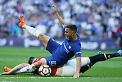 19th May 2018, Wembley Stadium, London, England; FA Cup Final football, Chelsea versus Manchester United; Phil Jones of Manchester United fouls Eden Hazard of Chelsea in the penalty area to give Chelsea a penalty in the first half before Eden Hazard of Chelsea scored his sides 1st goal in the 21st minute from the penalty to make it 1-0