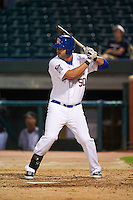 Chattanooga Lookouts first baseman Mike Gonzales (50) at bat during a game against the Jacksonville Suns on April 30, 2015 at AT&T Field in Chattanooga, Tennessee.  Jacksonville defeated Chattanooga 6-4.  (Mike Janes/Four Seam Images)