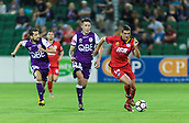 4th November 2017, nib Stadium, Perth, Australia; A-League football, Perth Glory versus Adelaide United; George Blackwood of Adelaide United breaks free from Perth Glory Scott Neville and Andreu Guerao