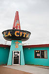 Entrance to the old La Cita Mexican Foods diner  along historic Rt. 66, Tucumcari, New Mex.