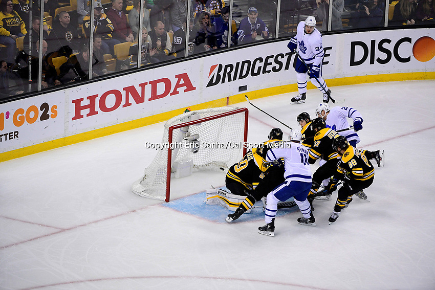 April 21, 2018: Toronto Maple Leafs right wing Connor Brown (28) scores a goal against Boston Bruins goaltender Tuukka Rask (40) during game five of the first round of the National Hockey League's Eastern Conference Stanley Cup playoffs between the Toronto Maple Leafs and the Boston Bruins held at TD Garden, in Boston, Mass. Toronto defeats Boston 4-3, Boston leads Toronto 3 games to 2 in the best of 7 series.