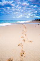 Footprints in the sand.  Kekah Beach on the island of Kauai in Hawaii